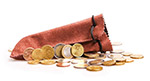 欧元硬币特写