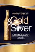 金色酒瓶酒吧海报
