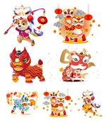 春节舞狮卡通狗