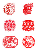春节剪纸窗花元素