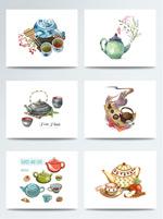 彩绘茶具元素