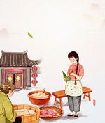彩绘包粽子插画