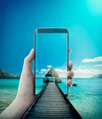 手机海滩码头背景