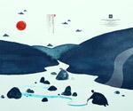 小溪绘画风景