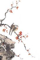 水墨桃花山鸟