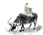 水墨放牛的牧童