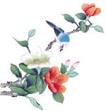水墨画眉与鲜花