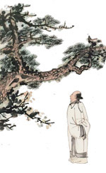 老人与树中国画