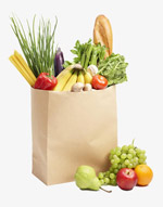 购物袋里的水果和蔬菜