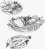 手绘插画海鲜