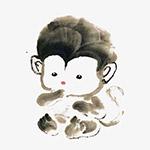 水墨可爱小猴子