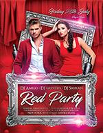红色酒吧派对海报