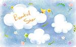 卡通云朵与蝴蝶
