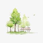 水彩树木和草地