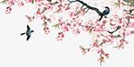 水墨桃花和鸟