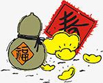 葫芦迎春插画