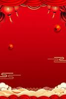 春节灯笼布帘背景