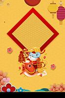 手绘生肖鼠春节背景