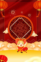 新年红色古窗背景