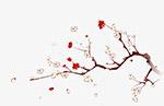 水墨桃花花枝