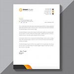 橙黑拼接商务信纸