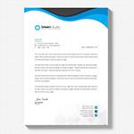 蓝色极简商务信纸
