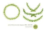 水彩橄榄枝框架