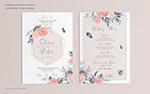 玫瑰花装饰婚礼邀请卡