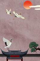 中国风古典白鹤背景