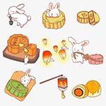 中秋兔子月饼卡通元素