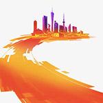手绘橙色城市建设