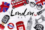 伦敦主题手绘插画