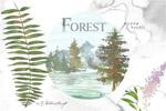 绿色森林水彩图案