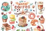 彩绘甜点美食插画