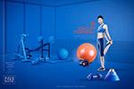 蓝色美女健身海报
