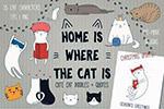 可爱猫咪涂鸦图案