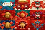 春节灯笼与舞狮