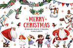 圣诞快乐水彩插画