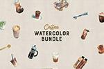 水彩咖啡品牌插画