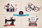 打字机缝纫机插画