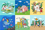 手绘儿童生活插画