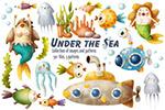 卡通海底世界插画