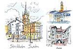 手绘城市建筑物插画