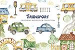 水彩城市交通插画
