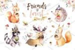 手绘花卉动物插画