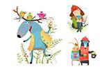 女孩与动物等插画