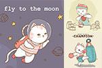 手绘卡通猫插画