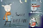 卡通动物甜美的梦插画