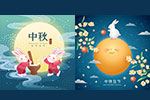 手绘卡通中秋节插图