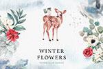 手绘水彩冬季花环动物